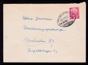MÜNCHEN-BERCHTESGADEN BAHNPOST b ZUG 01130 01.4.55 auf Brief