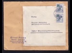 Grünaufdruck 20 Pfg. senkr. Paar auf Firmenbrief (Ernst Rose, Berlin-Dahlem)