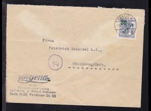 Grünaufdruck 20 Pfg. auf Firmenbrief (Wegena KG) ab Berlin W 35 9.9.49
