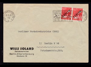 Schwarzaufdruck 8 Pfg. waager. Paar auf Firmenbrief (Willi Sohland