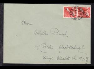 Schwarzaufdruck 8 Pfg. senkr. Paarauf Brief ab Berlin W 30 30.3.49