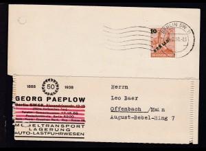 Grünaufdruck 10 Pfg. auf Firmenpostkarte (Georg Paeplow Möbeltransport)