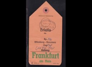 HANNOVER-HANNOVER FLUGHAFEN ÜBERLANDPOST a 0300-02/05 26.4.65 auf Briefbeutel-