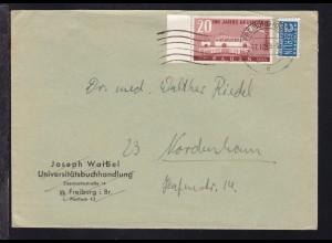 100 Jahre Deutsche Briefmarken 20 Pfg. Randstück auf Brief ab Freiburg