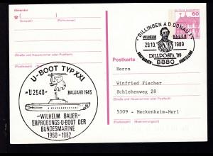 DILLINGEN A D DONAU 8880 WILHELM BAUER DILLPOSTA '89 BRIEFMARKEN-AUSSTELLUNG