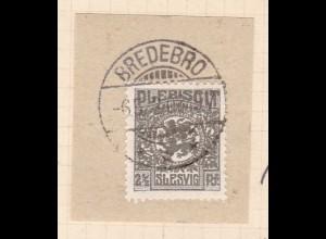 Wappen 2½ Pfg. auf Briefstück mit Stempel BREDEBRO *** 6.5.20
