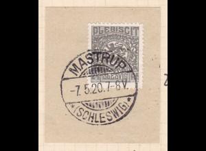 Wappen 2½ Pfg. auf Briefstück mit Stempel MASTRUP (SCHLESWIG) ** 7.5.20