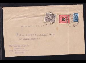Grünaufdruck 5 Pfg. und Bauten 15 Pfg. auf Brief ab Neumarkt (Oberfr.)