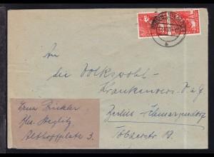 Rotaufdruck 8 Pfg. senkr. Paar auf Brief ab Berlin-Steglitz 30.5.49
