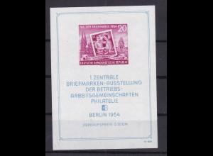 Briefmarkenausstellung Berlin 1954 Block, **, gepr. Weigelt