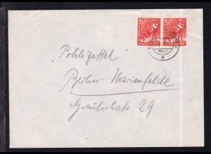 Rotaufdruck 8 Pfg. waager. Paar auf Brief ab Berlin-Mariendorf 17.10.49