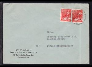 Rotaufdruck 8 Pfg. 2x auf Firmenbrief (Dr. Mertens,Berlin-Lichterfelde Ost)