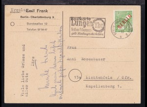 Rotaufdruck 10 Pfg. auf Postkarte ab Berlin-Charlottenburg 9.7.49
