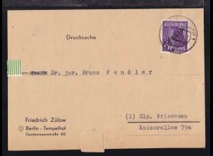 Schwarzaufdruck 6 Pfg. auf Firmendrucksache (Friedrich Zülow Generalvetreter