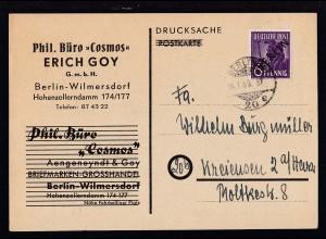 """Schwarzaufdruck 6 Pfg. auf Firmendrucksache (Phil. Büro """"Cosmos"""" Erich Goy)"""