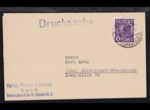 Schwarzaufdruck 6 Pfg. auf Drucksache des Verlag Werner Crombach ab Berlin-