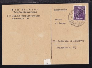 Schwarzaufdruck 6 Pfg. auf Drucksache (großer briefteil) des Briefmarkenversand