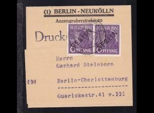 Schwarzaufdruck 6 Pfg. 2x auf Streifband der Briefmarken-Auktion Günter Naacke