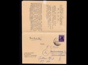 Schwarzaufdruck 6 Pfg. auf Firmendrucksache (Briefmarken-handlung W. Schüler)