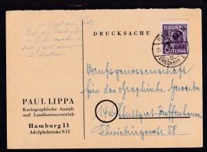 Schwarzaufdruck 6 Pfg. auf Firmendrucksache (Paul Lippa, Hamburg) ab Berlin-
