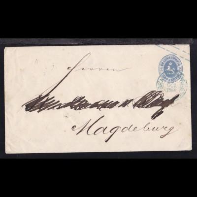 Wappen 2 Gr. mit K2 BRAUNSCHWEIG 3 OCT 1866 nach Magdeburg, Name übermalt und