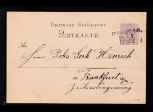 Ziffer 5 Pfg mit Bahnpost-L3 FRANKFURT. MAIN DEUTZ 18.1. I ab Klein Karben