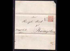 Ziffer ½ Gr. auf Dienstbriefhülle mit R3 KÖNIGSTEIN REG. BEZ. WIESBADEN 4.11.71