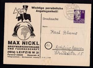 Persönlichkeiten 6 Pfg. auf Firmendrucksache (Max Nickel, Leipzig) ab Leipzig