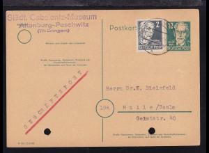 Persönlichkeiten 10 Pfg. mit Zusatzfrankatur als Postkarte des Gabolantz-Museum