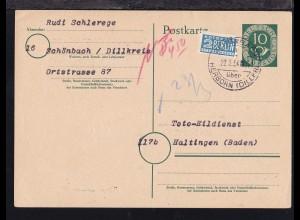 SCHÖNBACH über HERBORN (DILLKR) a 22.3.54 auf Ganzsache