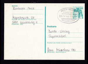 HAGEN-BESTWIG BAHNPOST a ZUG 14148 17.11.77 auf Ganzsache
