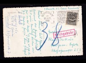 AK (Schiedam-Beurs) ab Schiedam 14.VII.1958 nach Königsee mit Nachgebühr,