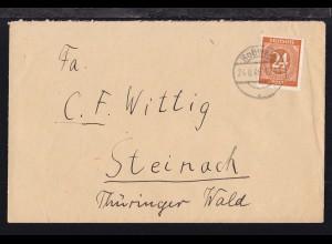 Ziffer 24 Pfg. auf Brief ab Roßwein 24.8.46 nach Steinach Thüringer Wald