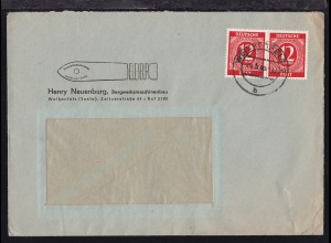 Ziffer 12 Pfg. waager. Paar auf Firmen-Fensterbrief (Henry Neuenburg,