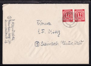 Ziffer 12 Pfg. 2x auf Brief Frankenberg (Sachs) 22.5.46 nach Steinach /Thür Wald