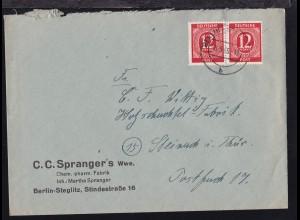 Ziffer 12 Pfg. waager. Paar auf Firmenbrief (C.C. Spranger's Wwe., Berlin-
