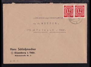 Ziffer 12 Pfg. waager. Paar auf Firmenbrief (Hans Schloßmacher, Eisenberg)