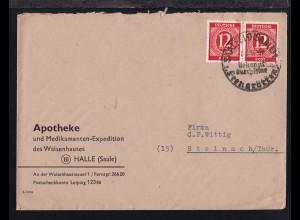 Ziffer 12 Pfg. waager. Paar auf Brief der Apotheke des Waisenhauses Halle