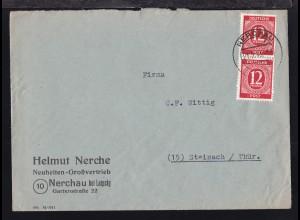 Ziffer 12 Pfg. senkr. Paar auf Firmenbrief (Helmut Nerche, Nerchau bei Leipzig)