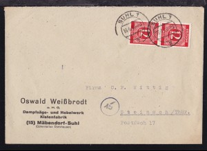 Ziffer 12 Pfg. senkr. Paar auf Firmenbrief (Oswald Weißbrodt, Mäbendorf-Suhl)