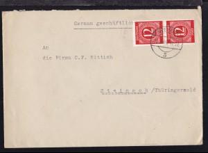 Ziffer 12 Pfg. senkr. Paar auf Firmenbrief (Edith Philippi, Weimar) ab Weimar