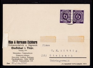 Ziffer 6 Pfg. waager. Paar auf Firmenpostkarte (Max & Hermann Eichhorn,