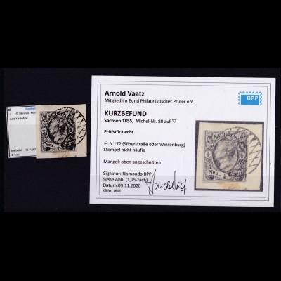 König Johann I ½ Ngr. auf Briefstück mit Nummernstempel 172 (= Silberstraße oder