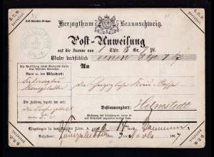 Postanweisung mit K2 KÖNIGSLUTTER 3 NOV 1867 nach Helmstedt