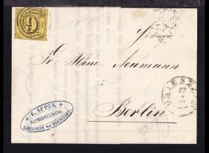 Ziffer 9 Kr. auf Firmenbrief (C. Appel Saamenhandlung Griesheim bei Darmstadt)