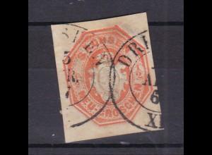 Ganzsachenausschnitt Wappen ½ Ngr. mit K2 DRESDEN 15 APR 67