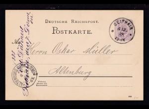 Ziffer 5 Pfg. mit K1 GEITHAIN 6.12.88 nach Altenburg