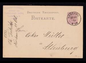 Ziffer 5 Pfg. als Firmenpostkarte (Theodor Fritzsche, Nerchau) mit K1 NERCHAU