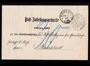 K1 BÖHLEN ** 24.10.87 auf Post=Zustellungsurkunde nach Rudolstadt