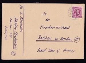 AM POST 12 Pfg. auf Brief ab Kevelaer 8.2.46 nach Radebeul bei Dresden